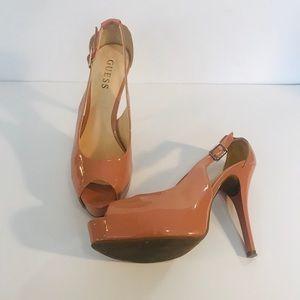 Women's Guess blush pink peep toe Heels- Sz 7